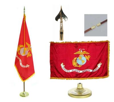 Marines Indoor/Parade Flag Set 3ft x 5ft US Military Flags