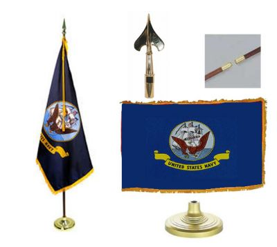 Navy Indoor/Parade Flag Set 3ft x 5ft US Military Flags