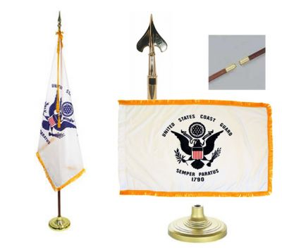 Coast Guard Indoor/Parade Flag Set 3ft x 5ft US Military Flags